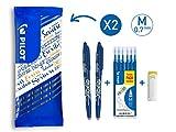 Pilot - Flowpack 2 FriXion Ball, 1 set de 6 recharges & 1 Gomme - Roller effaçable - Bleu - Pointe moyenne