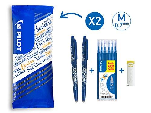 PILOT FriXion Ball, radierbarer Tintenroller, 9er Set (2 blaue FriXion Ball + 6 Ersatzminen + FriXion Radierer) - Blau Pilot Kugelschreiber