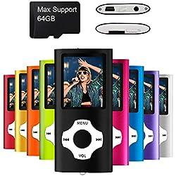 MYMAHDI - Digital, Compact et Portable Lecteur MP3/MP4 (Max Support 64 G) avec Photo Viewer, E-Book Reader et Radio FM Enregistreur Vocal et vidéo vidéo en Noir