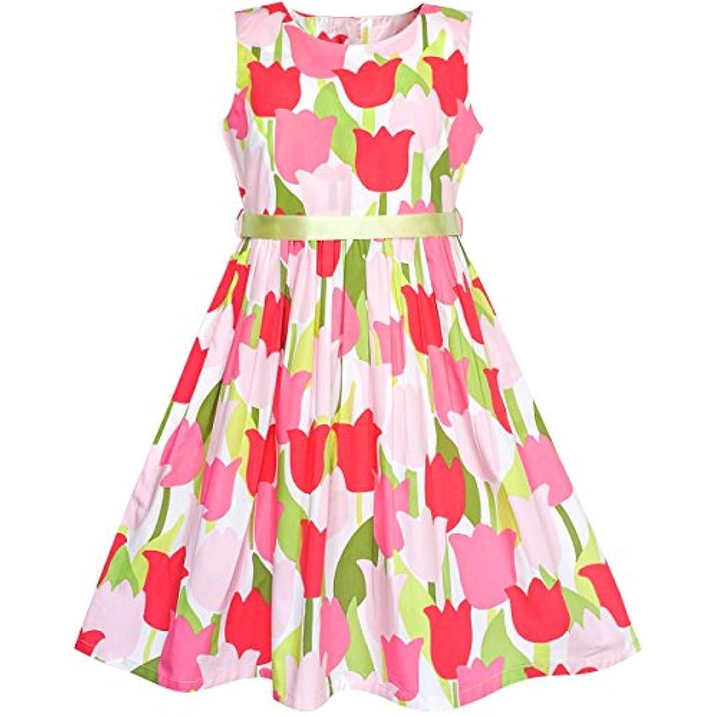bbc4c2565 Sunny Fashion Vestido para niña Azul Flor Impresión Niños Ropa 2-10 años