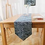 Camino de mesa Azul oscuro corredor de mesa olas de mesa de café de mesa de algodón chino moderno tabla de estilo europeo cama de bandera de estilo toalla de cama final Decoración hogareña ( Color : C , Size : 30*180cm )
