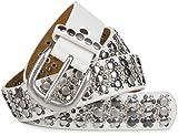 styleBREAKER edler Nietengürtel im Vintage Design mit echtem Leder, Nieten und Strass, kürzbar, Damen 03010052, Farbe:Weiß;Größe:95cm