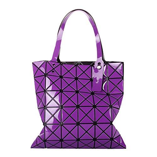 Für Frauen Checkered Tragetasche PU Leder Geometric Diamant Split Joint Purple