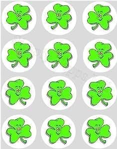 12 Irlandese Acetosella carta di riso fatina / cup cake 40mm coperture dolcetti pre tagliati decorazione Santo Patrick