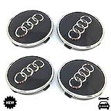 4X Nabenkappen 61mm Für Audi Felgen Radnabenabdeckung Satz Nabendeckel Radkappen Schwarz mit Chromrand 4M0601170 JG3 A3 A4 A6 Q7 und andere Modelle Wheel Hub Caps