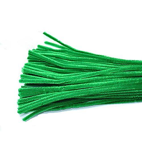 95-100 Stück Pfeifenreiniger Chenille Stem für Kunst und Handwerk 6 x 300 mm (Mehrfarbig) grün