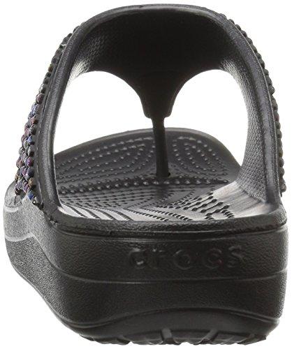 Crocs Sloane Embellished, Tongs Femme, Noir Multi, Talla De plusieurs couleurs (Noir / Multicolore (Black / Multi))