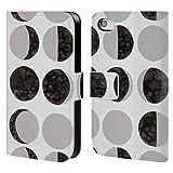 Head Case Designs Offizielle Amanda Laurel Atkins Mondphasen Weiss Muster Brieftasche Handyhülle aus Leder für iPhone 4 / iPhone 4S