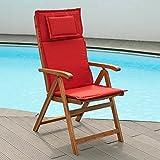 Auflagen für Hochlehner Sessel hoch in rot Bezug mit Reißverschlüssen - waschbar (ohne Sessel)