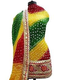 NS Creation Women's Art Silk Bandhini Gota Patti Daaman Border Suit With Same Work Border In Crep Bottom (SN-181...