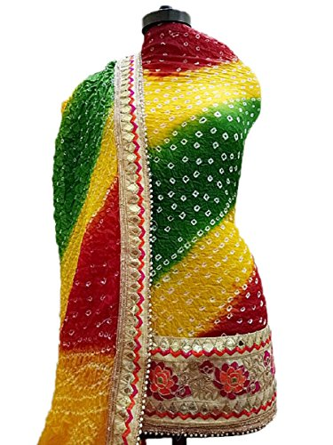 NS Creation Women's Art Silk Bandhini Gota Patti Daaman Border Suit With Same Work Border In Crep Bottom (SN-181...