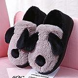 SKYROPNG Slippers Casa Zapatillas,Adorable Oso Panda Café Cartoon Suave Transpirable Sweat-Absorbent Cálido Invierno Pavimentos Interiores Antideslizamiento Grueso Masculino Femeni