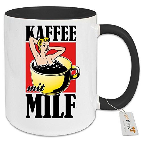 getshirts - Rocket Beans TV Official Merchandising - Tasse Color - Kaffee mit MILF - schwarz uni (Kaffee Und Tv)