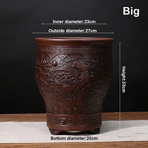 Nclon [style chinois] Yixing Argile pourpre Pot de fleur Clivia Bonsaï Les orchidées Plantes en pots Respirabilité Revêtement céramique Pot de fleur C-Gros