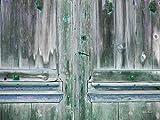 Glücksvilla Holztür in grün - Exklusives Künstlermotiv, XXL Bild/Wandbild, Größe: 80 x 60 cm Quer-Format, Digital-Druck auf Art Canvas Leinwand, Keilrahmen 2 cm