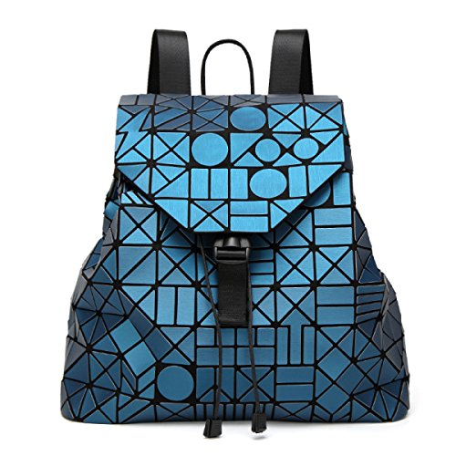 Opaco Zaino Signora Irregolare Cucitura Zaino Fulmini Forma Rhinestone Viaggi Big Bag Luminoso Colore Borsa Skyblue