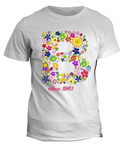 Tshirt nome con iniziale floreale B since 1961 - compleanno - fashion - summer - idea regalo - in cotone Bianco