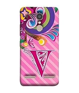 Lenovo K6 Back Cover Alphabet V Multicolor Floral Pattern Design From FUSON