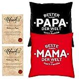 Vatertag - Muttertag Geschenk - Eltern im Set -:- Mama Papa -:- 2 Kissen rot & schwarz -:- 2 Urkunden