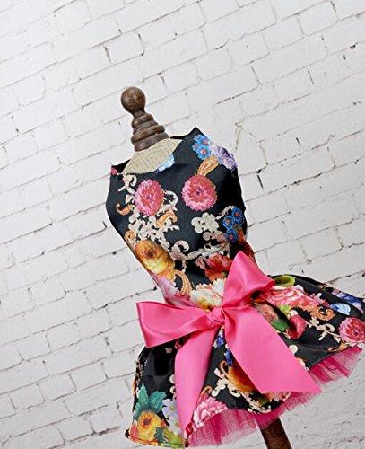 Jeephuer Lieblicher Stil Haustier Kleidung Katze Hund Elegant Chic Brautkleid - Black Flower M