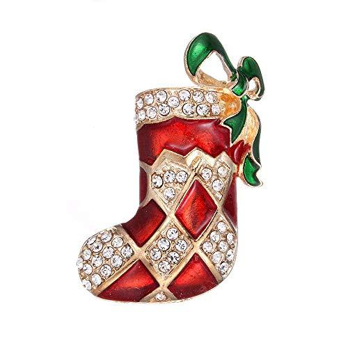 Preisvergleich Produktbild HEHAHA-STUDIO Weihnachtsbrosche Rote Stiefel,  Hochwertige Brosche,  Süße Weihnachtsbrosche,  B (2 Stück)
