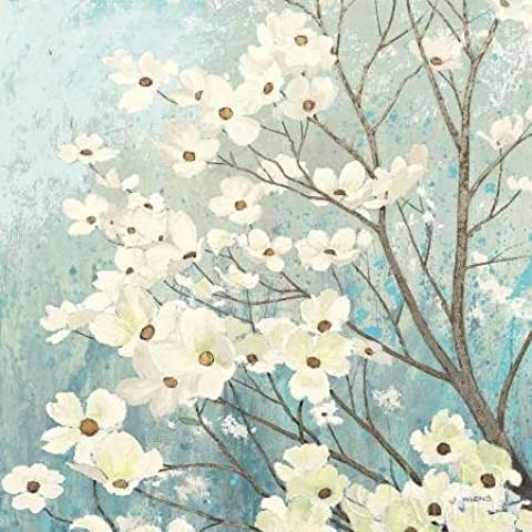 Feelingathome.it, STAMPA SU TELA 100% cotone INTELAIATA Dogwood Blossoms I