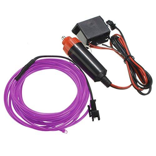 Wooya 300Cm EL Neon Light Effect Light Cable Cord Wire 12V Wechselrichter-Lila (Lila El Wire)