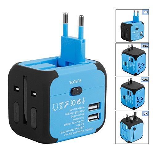 Duomishu Reiseadapter Reisestecker 2 Polig 3-Polig USB 4 Fach Reise Adapter weltweiter Einsatz doppel USB Anschlüsse am Ladegerät Steckdosenadapter universell einsetzbar in 150 Ländern USA UK EU AU usw.