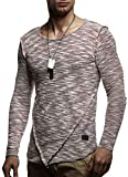 LEIF NELSON Herren Pullover Longsleeve Hoodie Basic Rundhals Ausschnitt Rundkragen Pulli Crew Neck Sweatshirt Hoodie Hoody Sweater T-Shirt LN8180; Größe M, Bordeaux