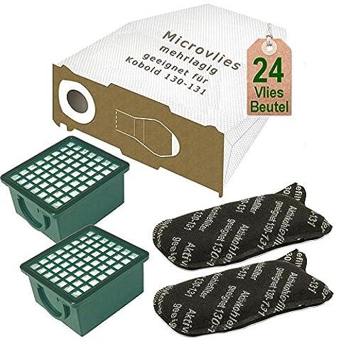 24 Vlies Staubsaugerbeutel mit 2 x Filter Set passend für Vorwerk Kobold VK 130 , Kobold VK 131 und 131 SC