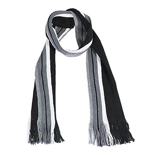 Schal herren–in weiß und schwarz gestreift wolle Schal Männer Schals mit Fransen Paladin NLH