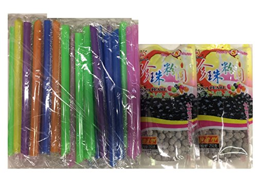 2Packs of BOBA Black Tapioca Pearl Bubble With 1 Pack of 50 BOBA STRAW by WuFuYuan