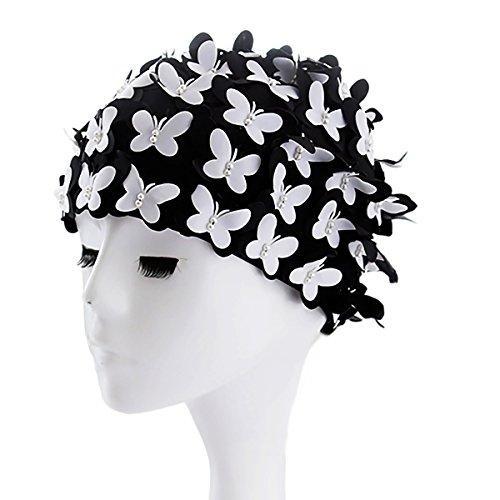 MissSoul Vintage Floral Swimming Hats for Women Ladies Girls Flowers Fabric Handmade Retro Style Petal Butterfly Long Hair Spa Swim Bathing Cap,Black/White