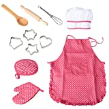 Twister.CK Chef Set Kids Aprons, Childrens Role Play Set with Dress up Costume and Kitchen Accessories, Chef Hat, Kids Pretend Play 11 Pcs Perfect Gift for Girls