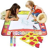 BelleStyle Doodle Agua, 4 Colores Agua Dibujo Pintura Mat Escritura Tablero con 2 Plumas Mágicas & 9 Moldes para Niños Mayores de 2 Años, Juguete Educativo Mat (M, 80cm x 60cm)