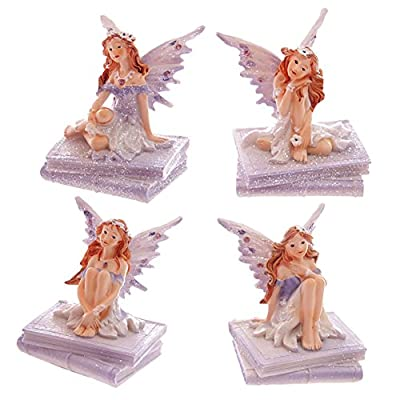 Lilac Glitter Flower Fairy Sitting on Book. A perfect gift for that Birthday Gift, Christmas Present or Fathers day gifts etc...