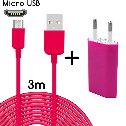 Original COVERLOUNGE - 2in1 Ladeset mit Micro USB Kabel / Datenkabel / Ladekabel [3m] & Slim Netzteil USB universal Adapter [1.0A] für alle Samsung Smartphones mit Micro USB Anschluss | Farbe: pink | Länge: 3 Meter / 3m (Mini One Original Screen Htc)