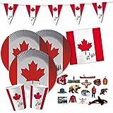 62-teiliges Party-Set Kanada - Teller Becher Servietten Wimpelkette XXL-Konfetti für 20 Personen