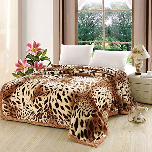 QJIAXING Bedsure Raschel Manta Leopardo Doble Engrosamiento
