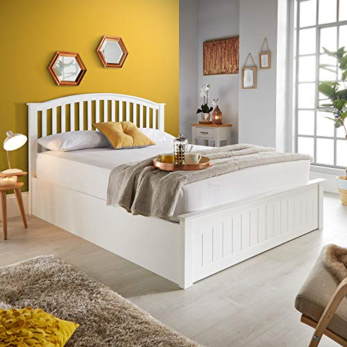 White Wooden Ottoman Bed, Happy Beds Grayson Storage Bed - 4ft6 Double (135 x 190 cm) Frame Only