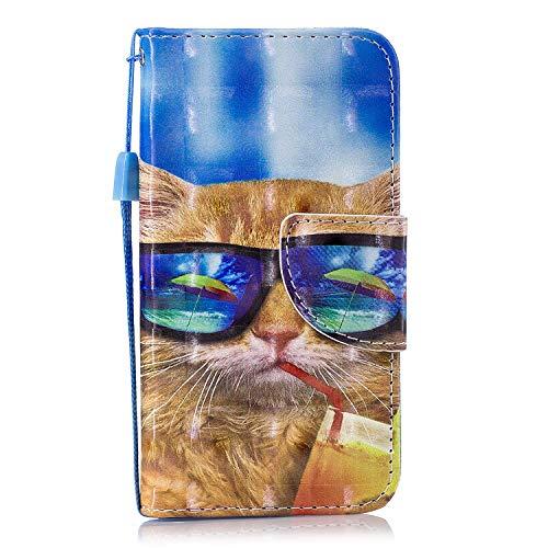 Felfy Kompatibel mit iPod Touch 5/6 Hülle Leder PU Handytasche Magnet Flip Wallet Case Bunt Muster Ledertasche mit Kartenfach Standfunktion PU Leder Tasche Handyhülle Case