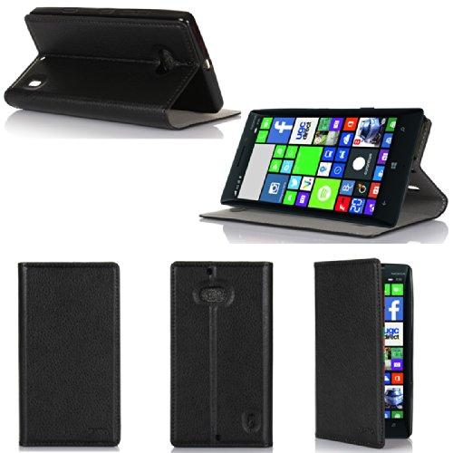 Nokia Lumia 930 4G Tasche Leder Style schwarz Hülle Cover mit Stand - Zubehör Etui smartphone 2014 Nokia 930 Windows Phone 8.1 Flip Case Schutzhülle (Handy tasche folio PU Leder, Black) - Brand XEPTIO accessoires (Lumia Phone Zubehör Windows)
