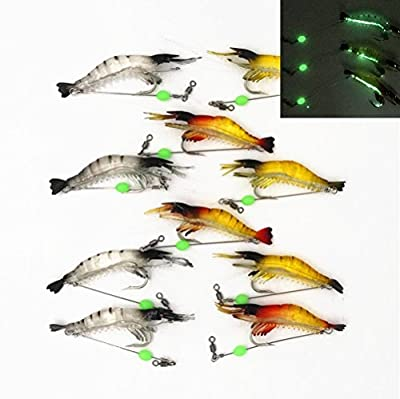 Shrimp Bait Set 10 Count Fishing Lures Kit Soft Lures Plastic Luminous Fishing Bait with Hooks Fishing Tackles from GuassLee