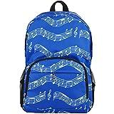 Punk Oxford Mochila con diseño de notas musicales, para la escuela, Niños y Niñas, Elegante, Arte (4Colores), Musical notes patterns blue