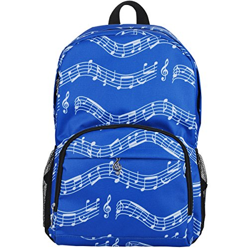 Punk Oxford Noten Print Rucksack für Schule Mädchen Jungen Stylische Art Bookbags (4 Farbe) Musical notes patterns blue (Kleines Mädchen Bookbags)