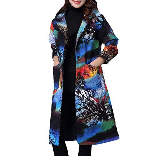 Damen Winter Mantel MYMYG Winterparka Warm Long Coat Pelzkragen Baumwolle Jacke Steppjacke Outwear Trenchcoat (Blau,EU:40/CN-XL)