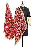 #1: Weavers Villa® Punjabi Hand Embroidery Phulkari Faux Chiffon Pink Dupatta, Stoles