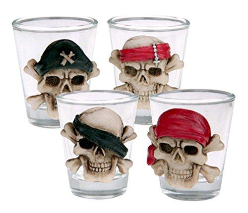 en Deko | 4 Teile Schnaps Gläser Totenkopf Tischdekoration Happy Horror Grusel Party (Bowle Halloween Kostüm)