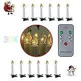 30 er Christbaumkerzen LED Weihnachtsbaum Lichterkette mit 30 LED-Kerzen warmweiß kabellose LED Mini Christbaumkerzen