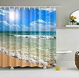 JameStyle26 Duschvorhang Vorhang Digitaldruck inkl. Vorhangringe Anti Schimmel Vers. Motiven Badezimmer Badewanne (Beach #2, 180 x 200 cm)